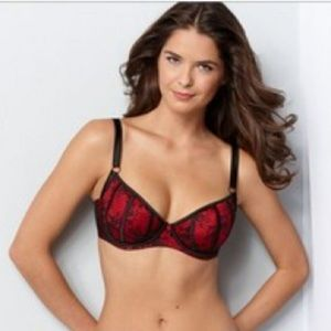 Paramour Lace Floral Unpadded Bra Red Black 36D